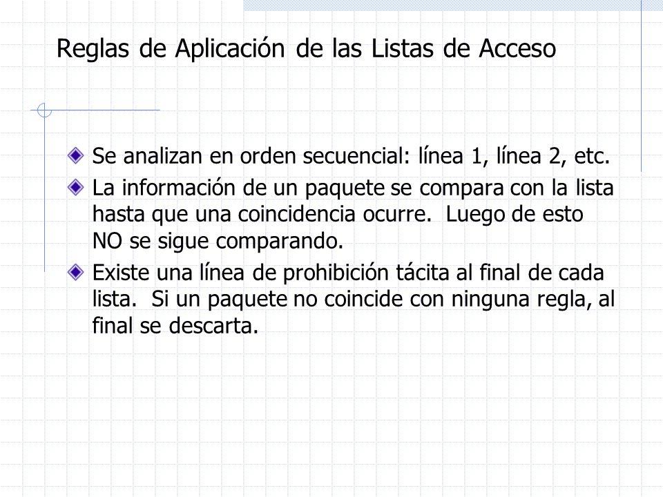 Reglas de Aplicación de las Listas de Acceso