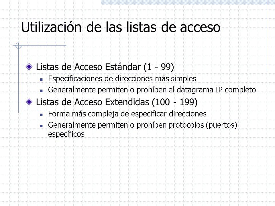 Utilización de las listas de acceso