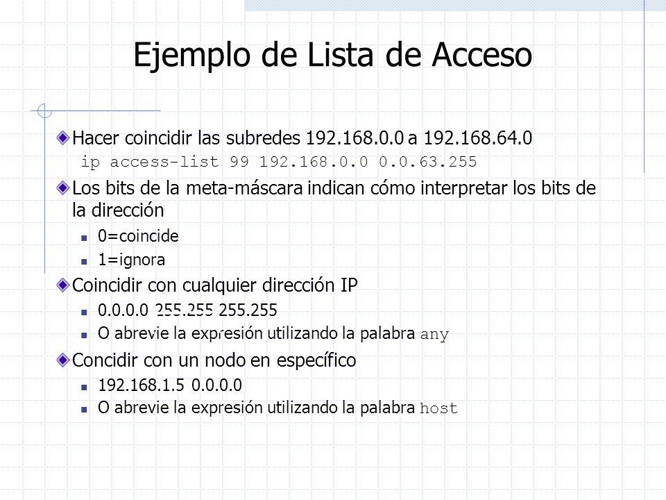 Ejemplo de Lista de Acceso