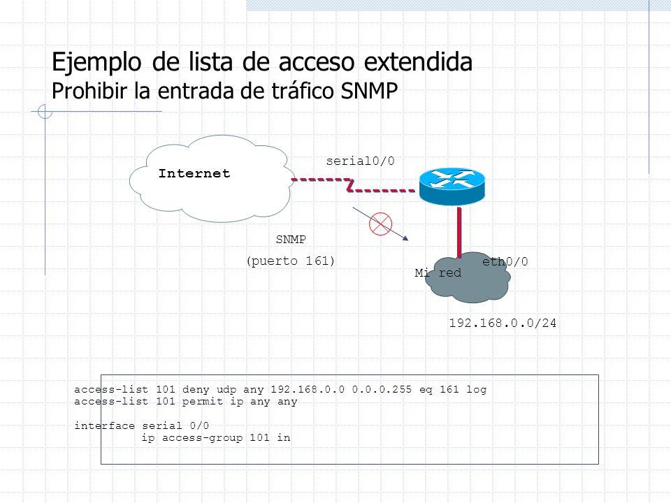 Ejemplo de lista de acceso extendida Prohibir la entrada de tráfico SNMP