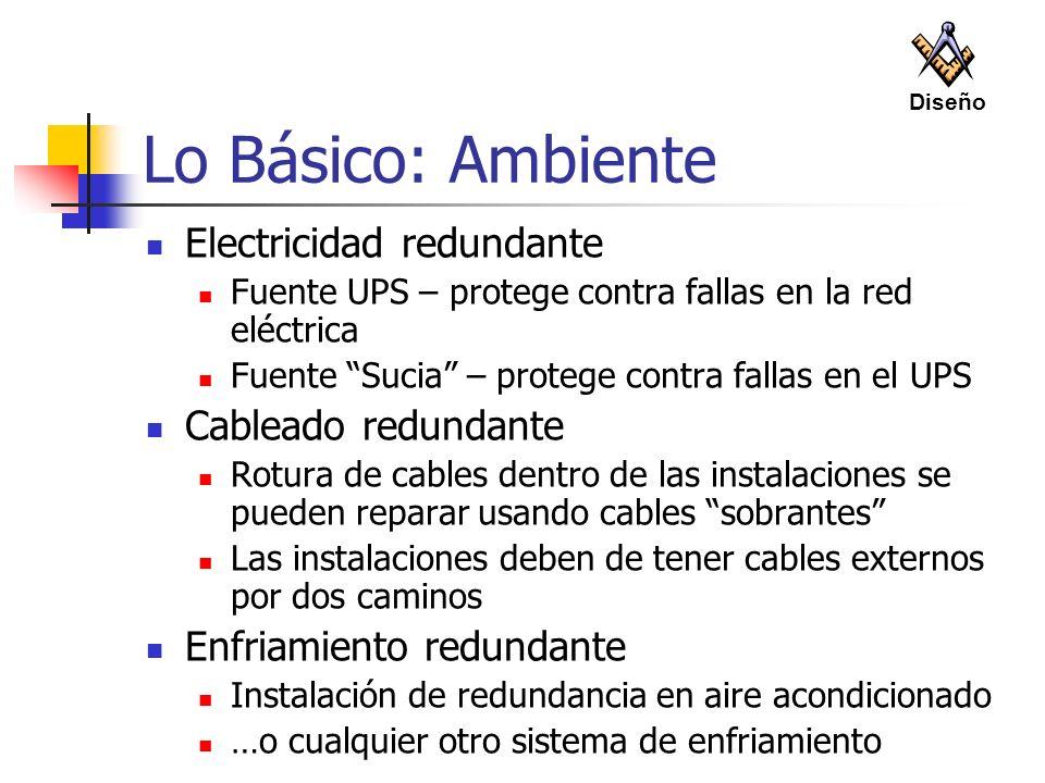 Lo Básico: Ambiente Electricidad redundante Cableado redundante