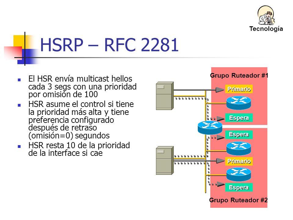 Tecnología HSRP – RFC 2281. Grupo Ruteador #1. El HSR envía multicast hellos cada 3 segs con una prioridad por omisión de 100.