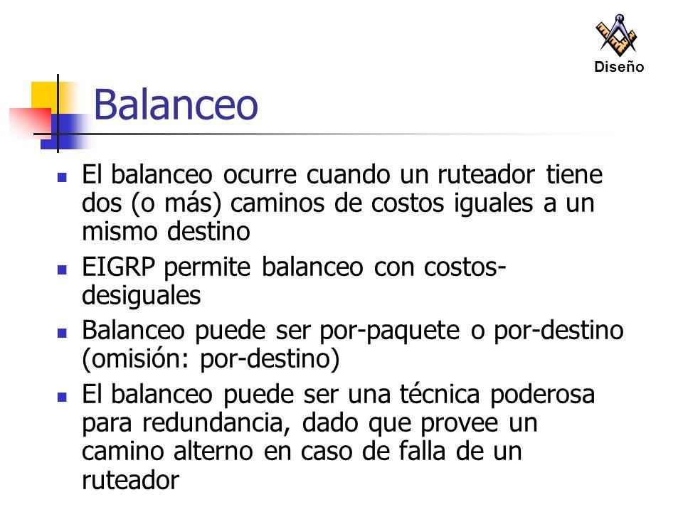 Diseño Balanceo. El balanceo ocurre cuando un ruteador tiene dos (o más) caminos de costos iguales a un mismo destino.