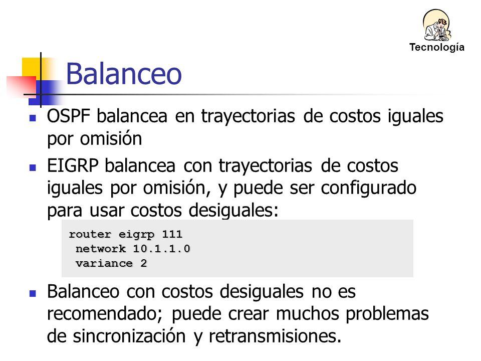 Balanceo OSPF balancea en trayectorias de costos iguales por omisión