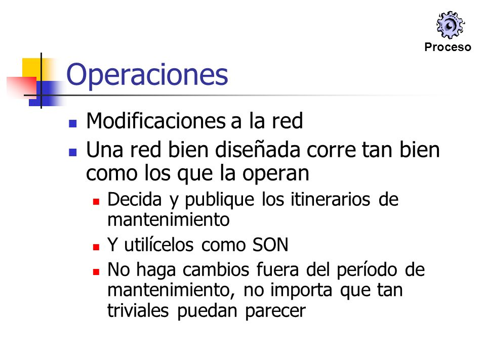 Operaciones Modificaciones a la red