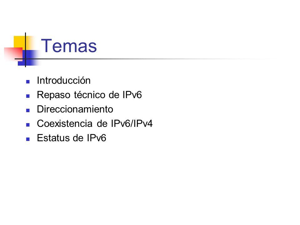 Temas Introducción Repaso técnico de IPv6 Direccionamiento