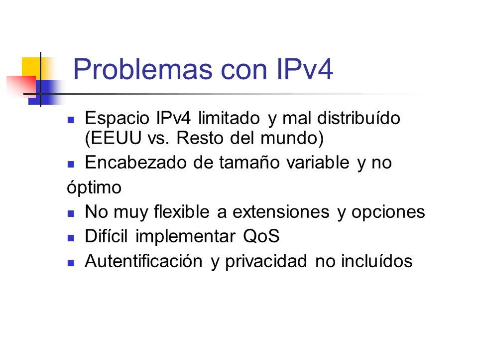 Problemas con IPv4 Espacio IPv4 limitado y mal distribuído (EEUU vs. Resto del mundo) Encabezado de tamaño variable y no.