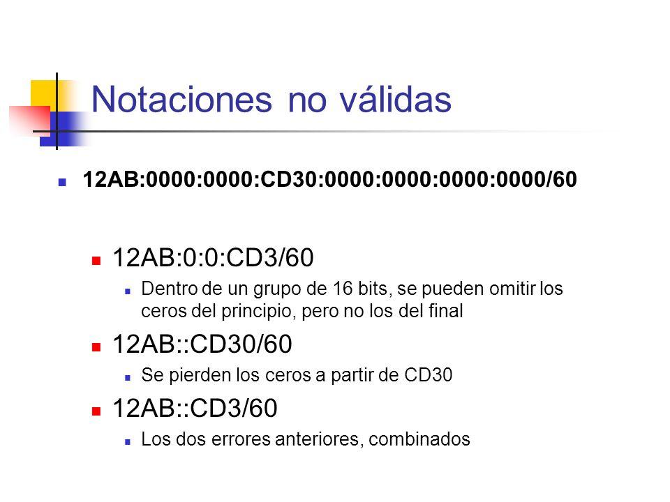 Notaciones no válidas 12AB:0:0:CD3/60 12AB::CD30/60 12AB::CD3/60