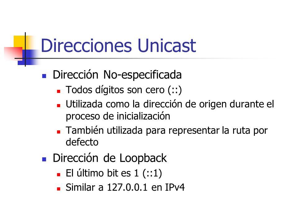 Direcciones Unicast Dirección No-especificada Dirección de Loopback