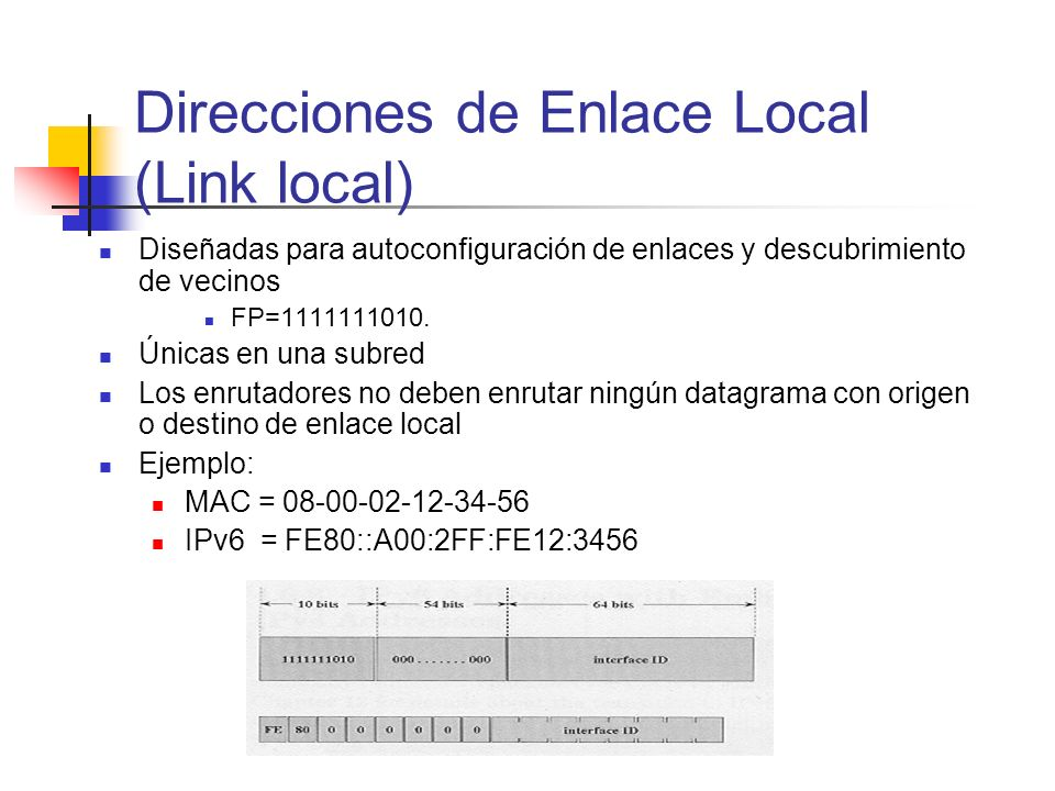 Direcciones de Enlace Local (Link local)