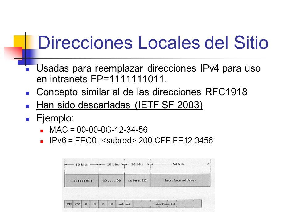 Direcciones Locales del Sitio
