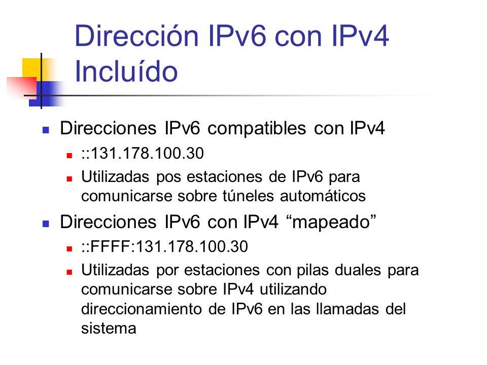 Dirección IPv6 con IPv4 Incluído