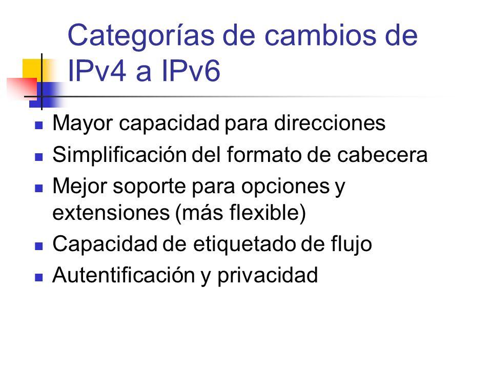 Categorías de cambios de IPv4 a IPv6