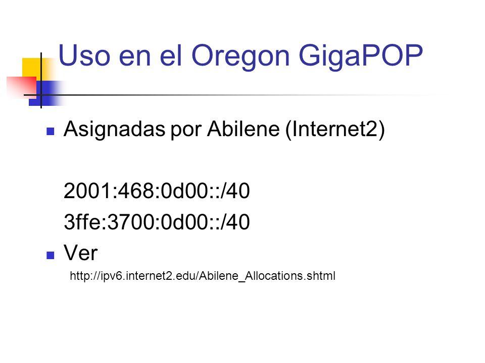 Uso en el Oregon GigaPOP