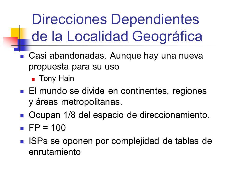 Direcciones Dependientes de la Localidad Geográfica