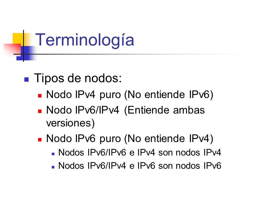 Terminología Tipos de nodos: Nodo IPv4 puro (No entiende IPv6)