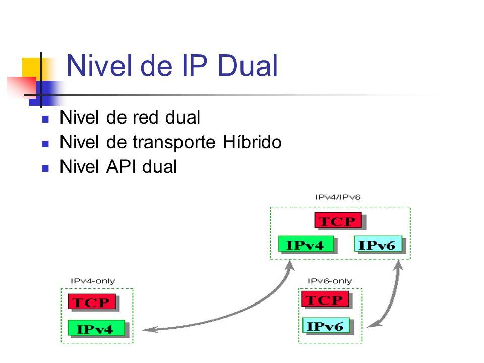 Nivel de IP Dual Nivel de red dual Nivel de transporte Híbrido