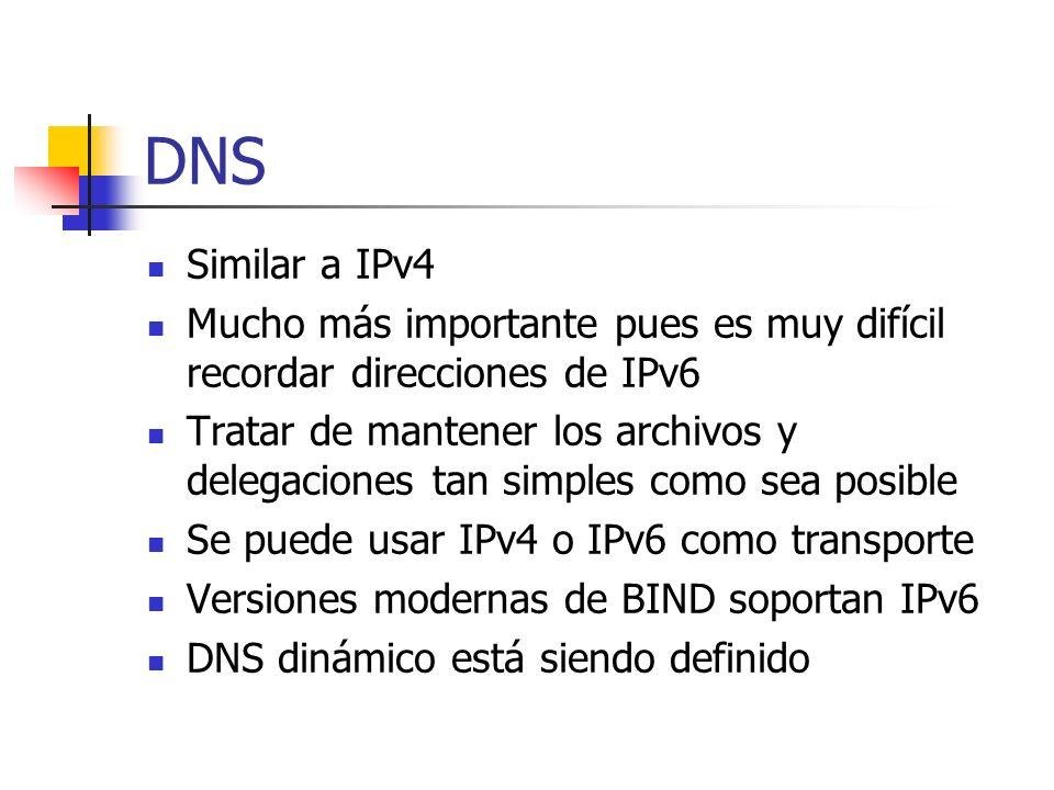 DNS Similar a IPv4. Mucho más importante pues es muy difícil recordar direcciones de IPv6.