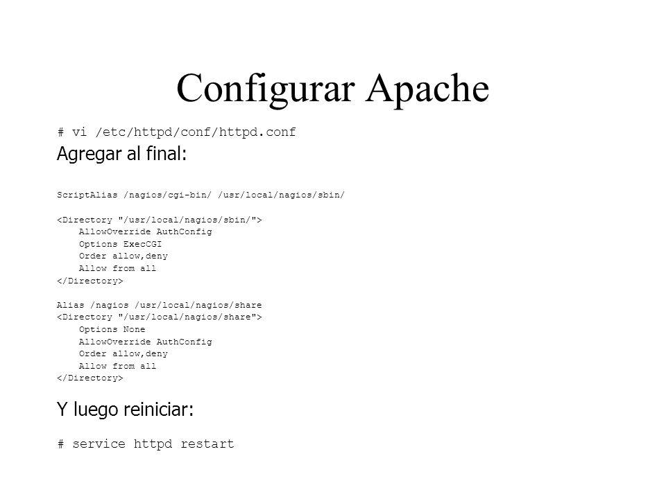 Configurar Apache Agregar al final: Y luego reiniciar: