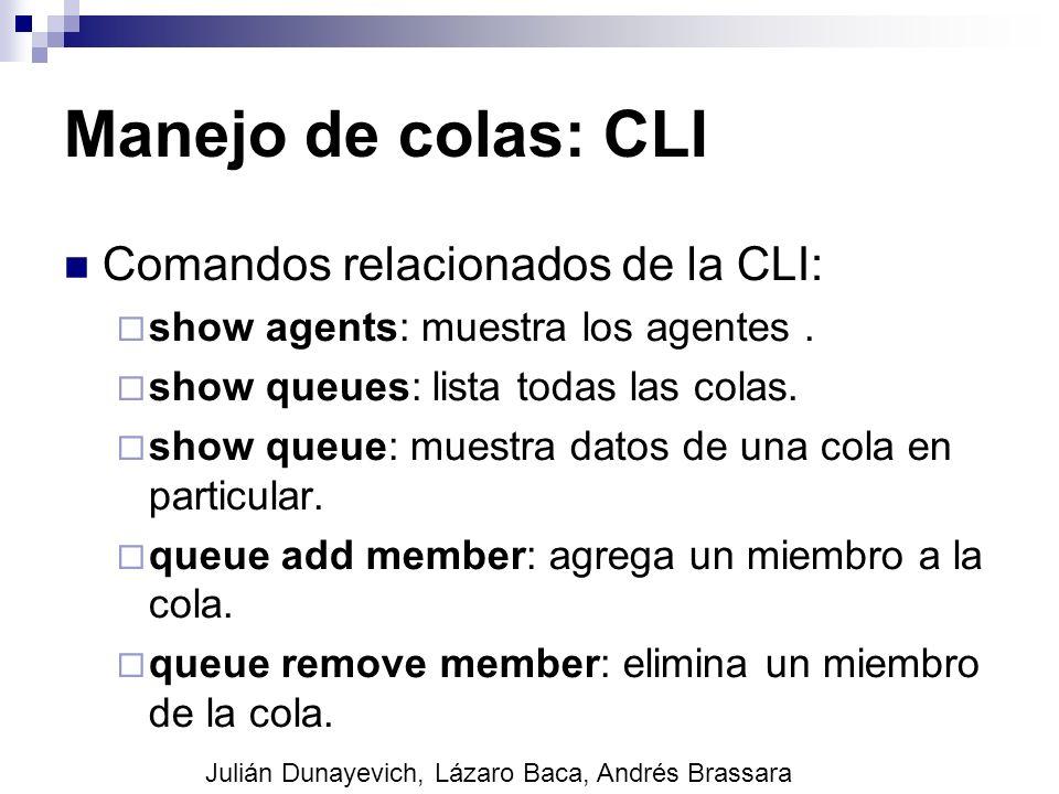 Manejo de colas: CLI Comandos relacionados de la CLI: