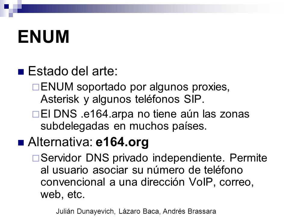 ENUM Estado del arte: Alternativa: e164.org