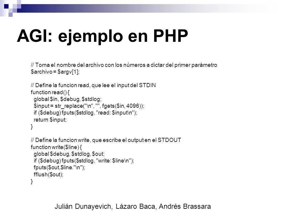 AGI: ejemplo en PHP Julián Dunayevich, Lázaro Baca, Andrés Brassara