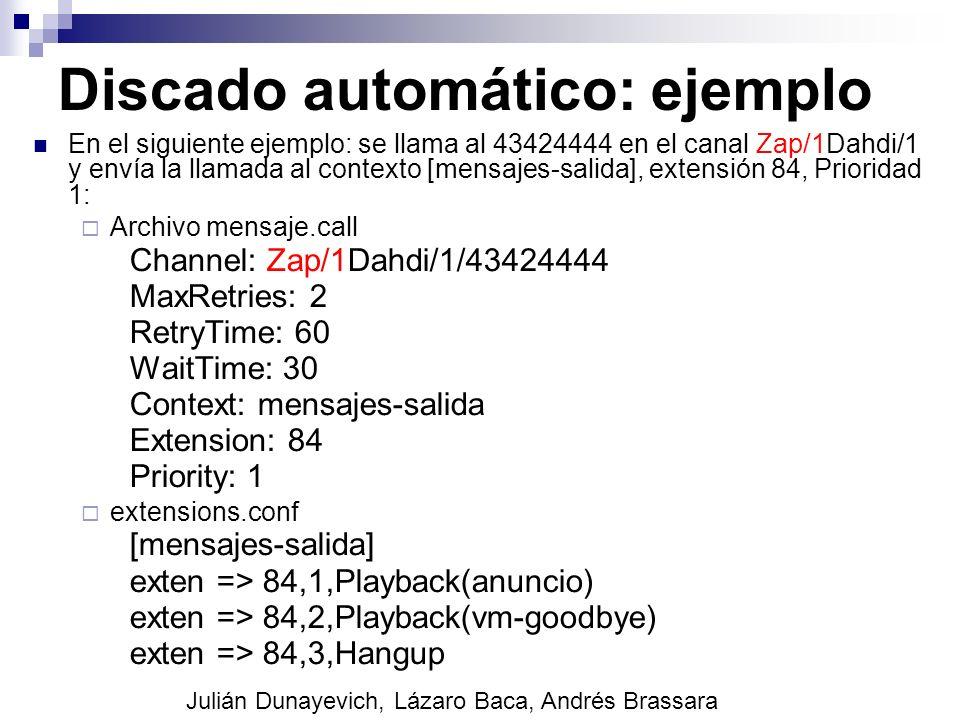 Discado automático: ejemplo