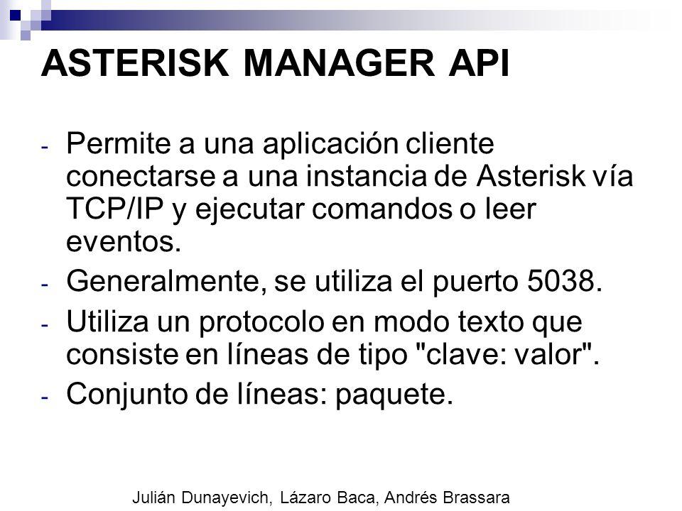 ASTERISK MANAGER API Permite a una aplicación cliente conectarse a una instancia de Asterisk vía TCP/IP y ejecutar comandos o leer eventos.