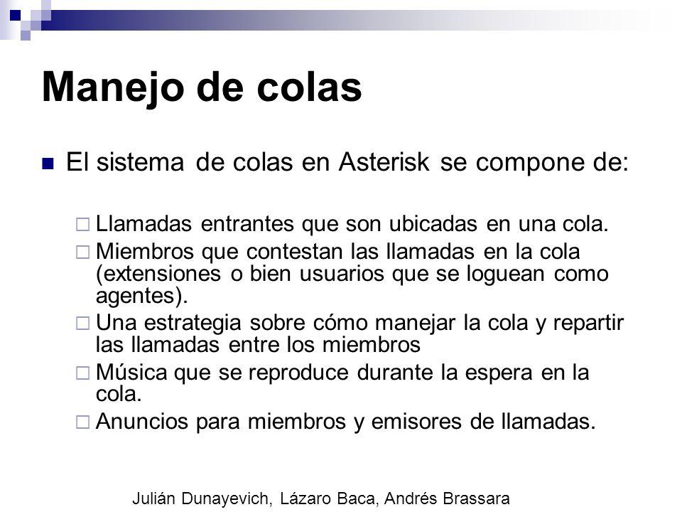 Manejo de colas El sistema de colas en Asterisk se compone de: