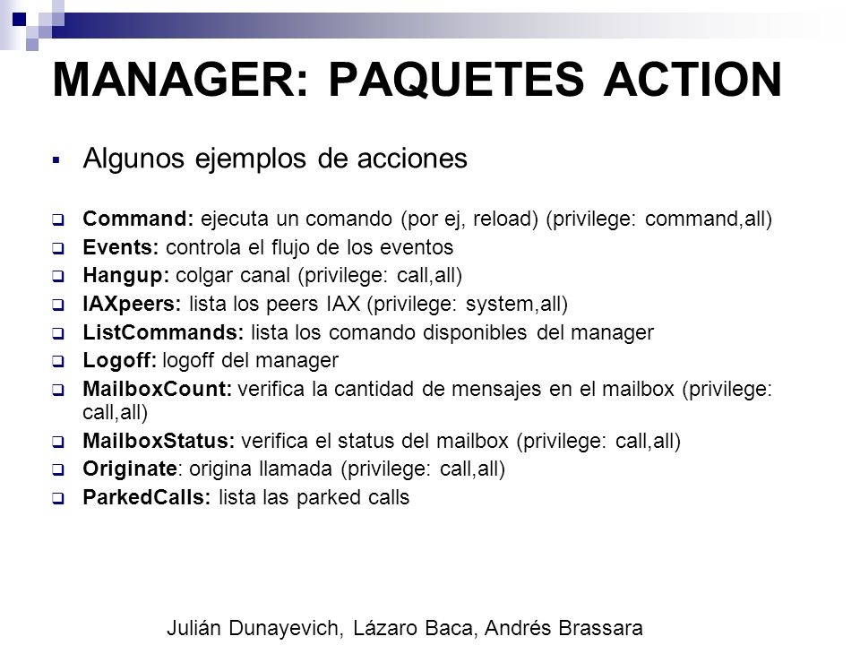 MANAGER: PAQUETES ACTION