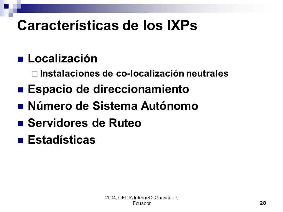 Características de los IXPs