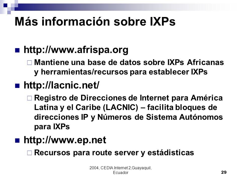 Más información sobre IXPs