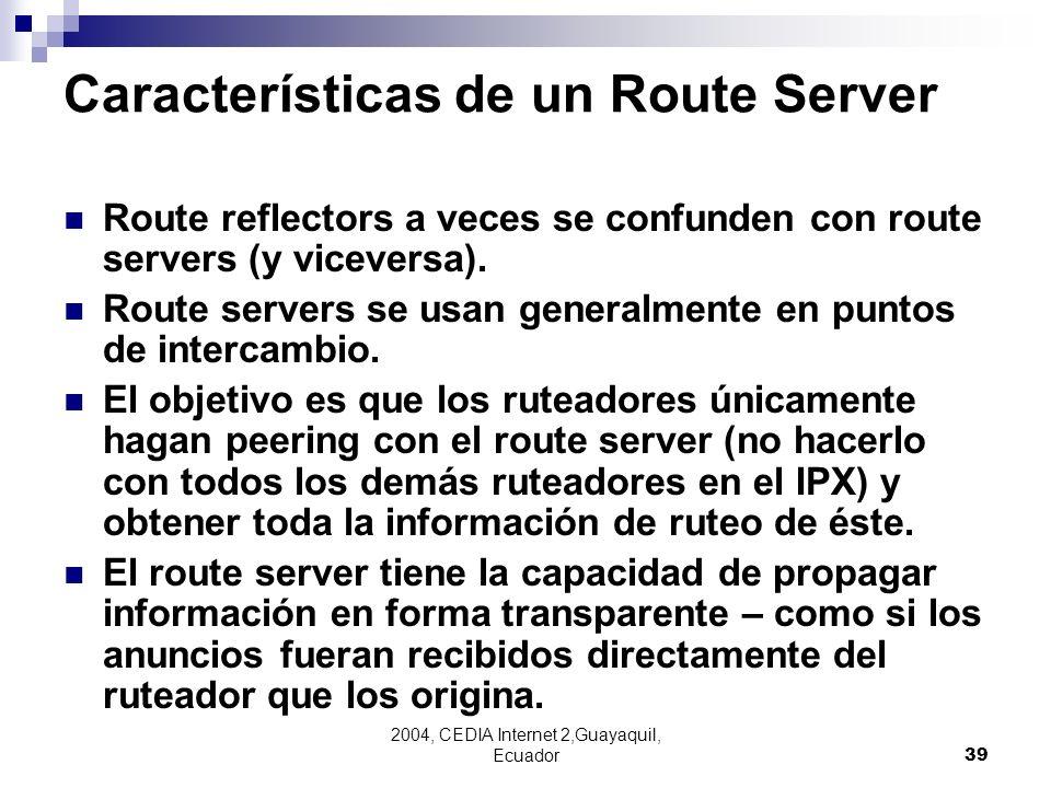 Características de un Route Server