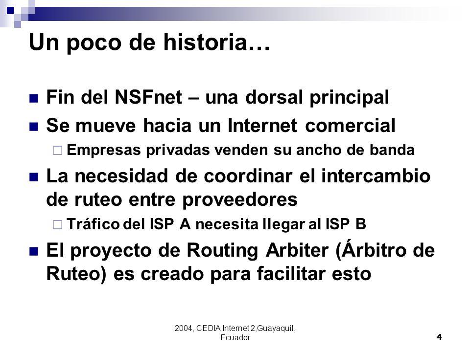 2004, CEDIA Internet 2,Guayaquil, Ecuador