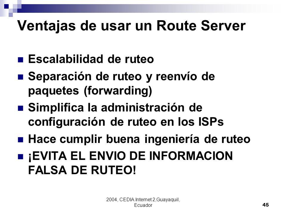 Ventajas de usar un Route Server