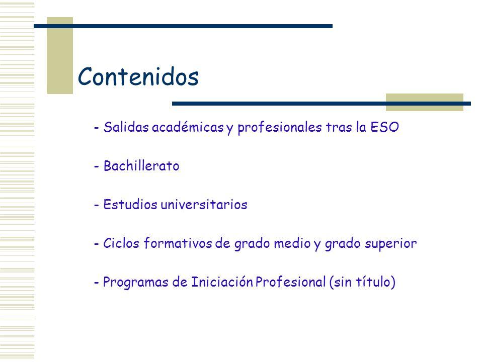 Contenidos - Salidas académicas y profesionales tras la ESO