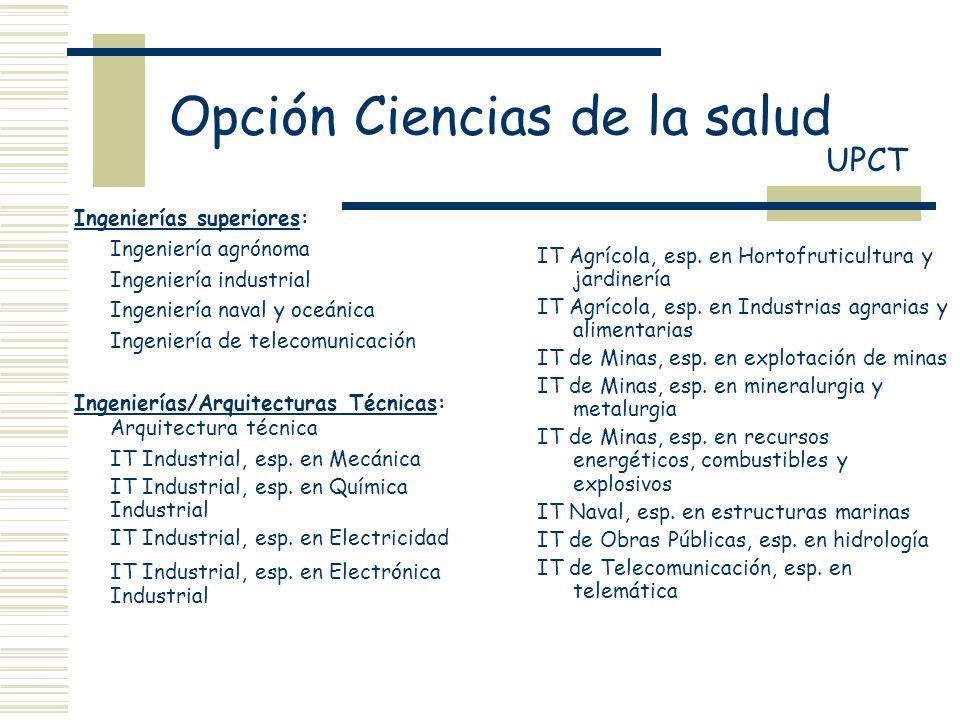 Opción Ciencias de la salud