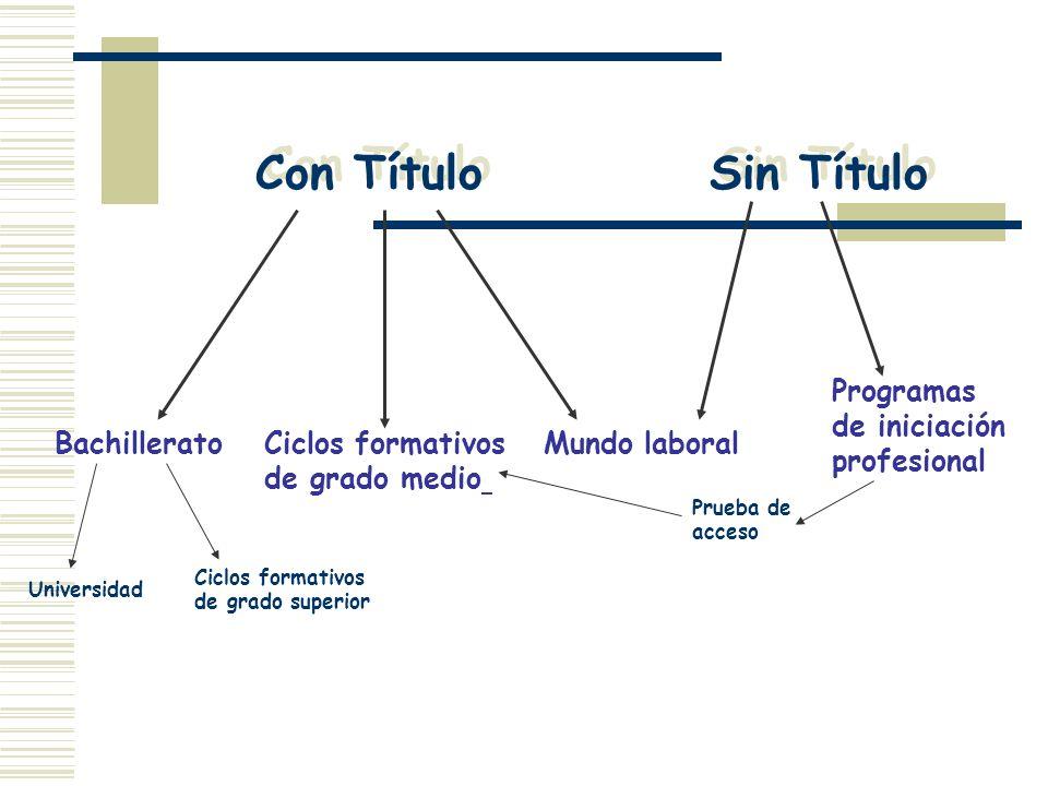 Con Título Sin Título Programas de iniciación profesional Bachillerato