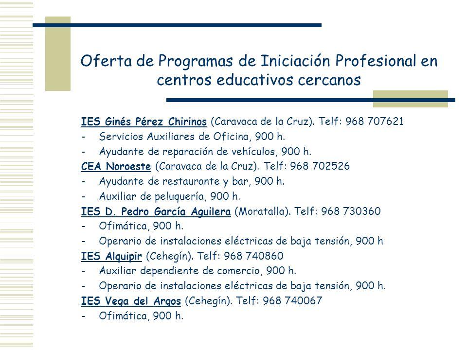 Oferta de Programas de Iniciación Profesional en centros educativos cercanos
