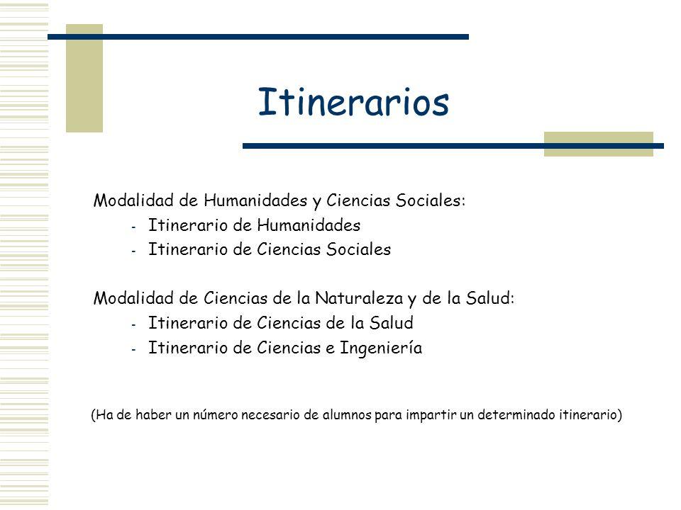 Itinerarios Itinerario de Humanidades Itinerario de Ciencias Sociales
