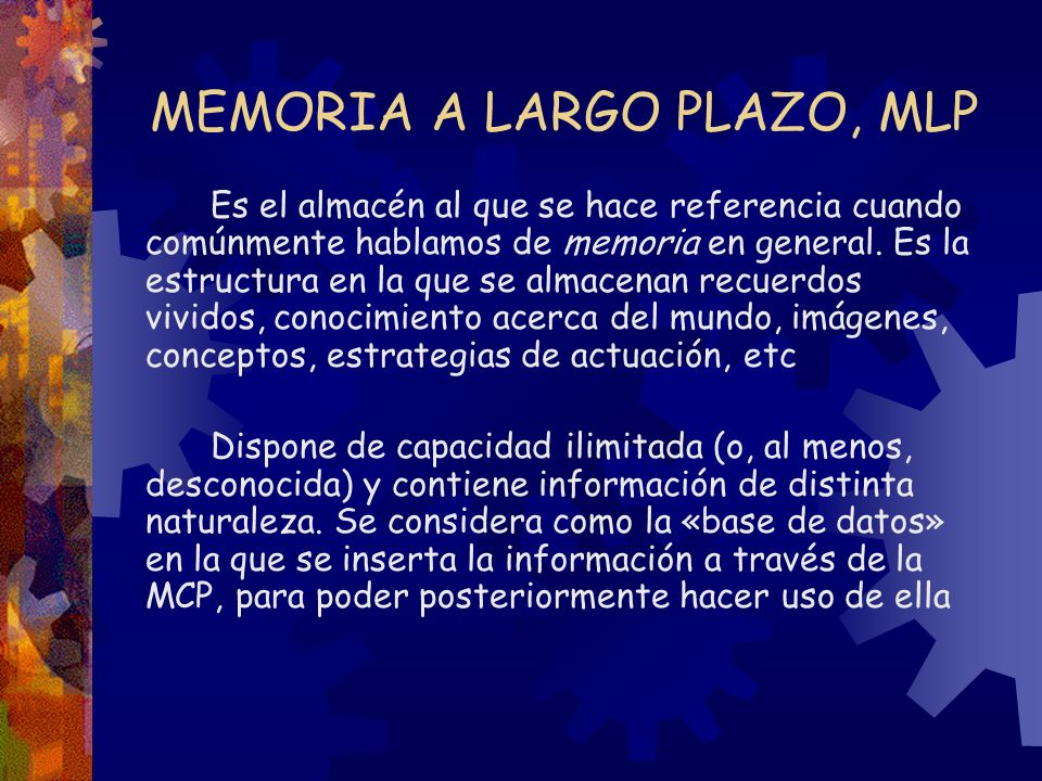 MEMORIA A LARGO PLAZO, MLP