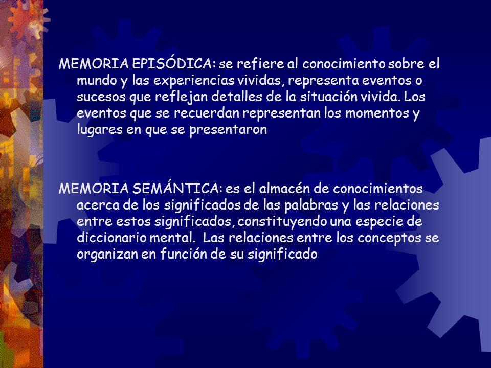 MEMORIA EPISÓDICA: se refiere al conocimiento sobre el mundo y las experiencias vividas, representa eventos o sucesos que reflejan detalles de la situación vivida. Los eventos que se recuerdan representan los momentos y lugares en que se presentaron