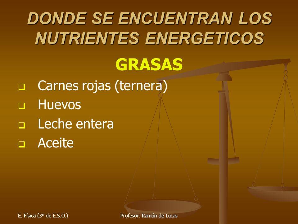 DONDE SE ENCUENTRAN LOS NUTRIENTES ENERGETICOS