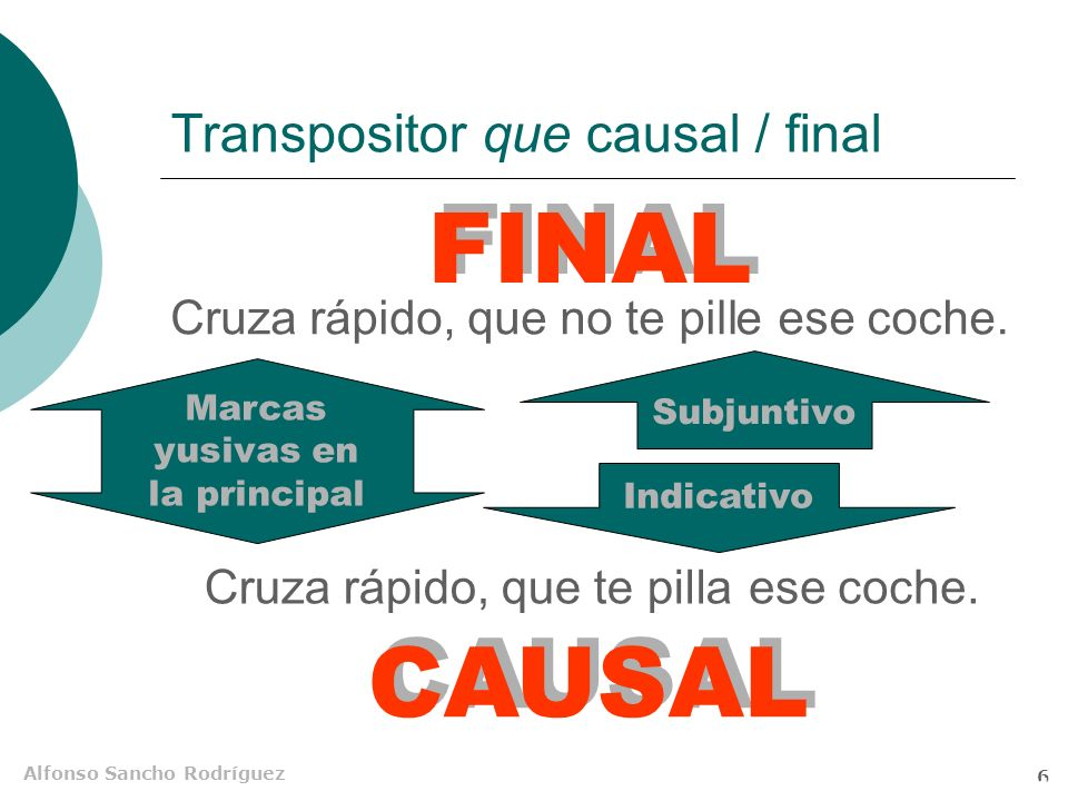 Transpositor que causal / final