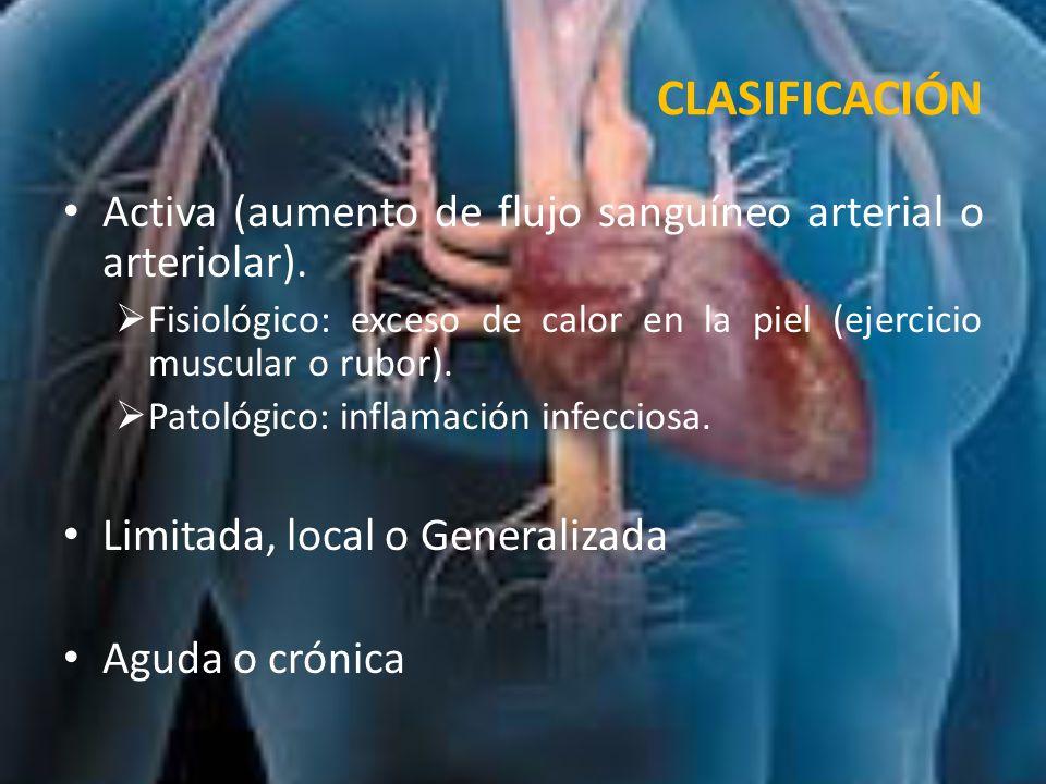 CLASIFICACIÓN Activa (aumento de flujo sanguíneo arterial o arteriolar). Fisiológico: exceso de calor en la piel (ejercicio muscular o rubor).