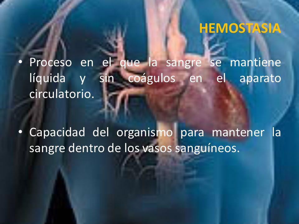 HEMOSTASIA Proceso en el que la sangre se mantiene líquida y sin coágulos en el aparato circulatorio.