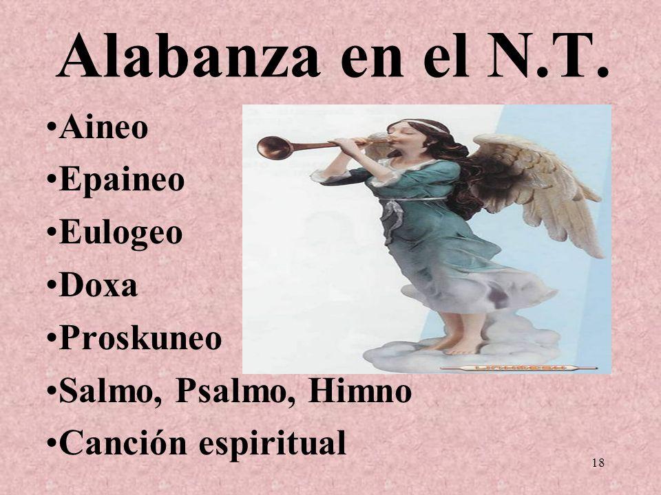 Alabanza en el N.T. Aineo Epaineo Eulogeo Doxa Proskuneo