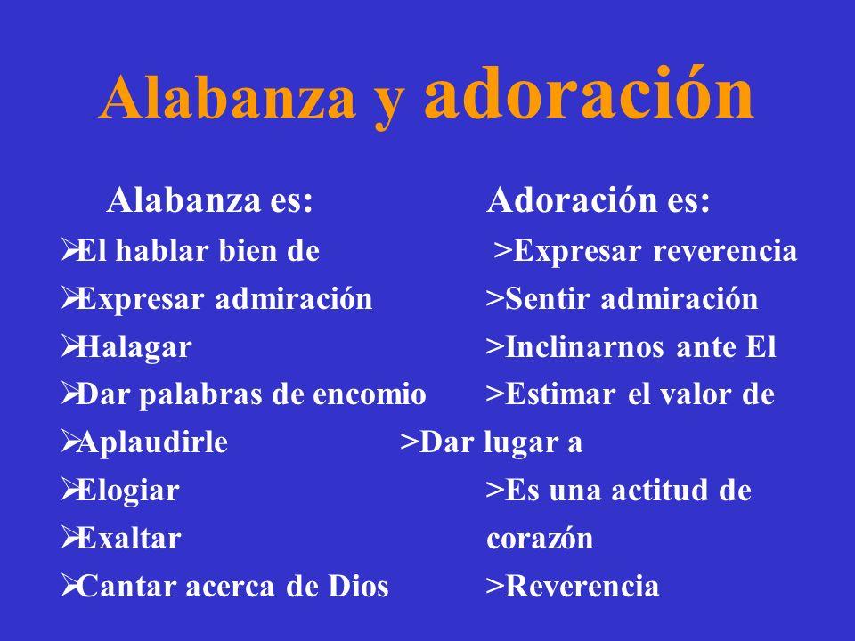Alabanza y adoración Alabanza es: Adoración es: