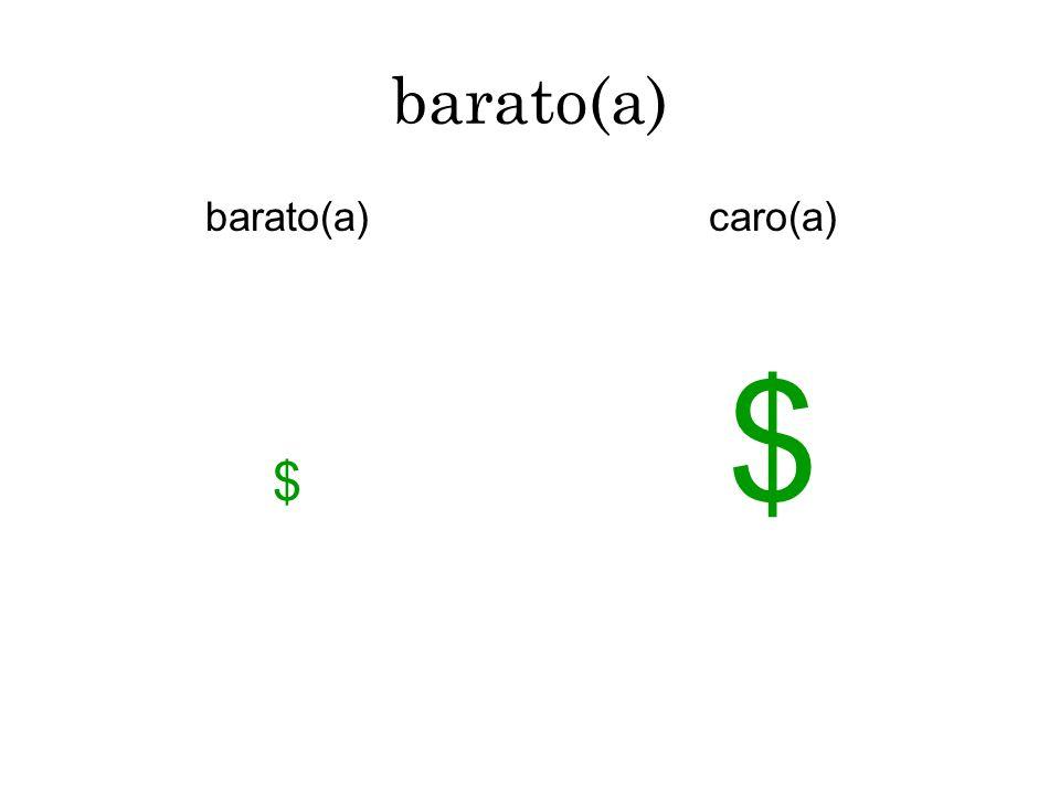 barato(a) barato(a) $ caro(a) $