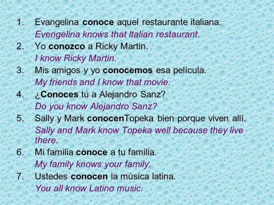1. Evangelina conoce aquel restaurante italiana.